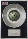 "MARY HOPKIN - 7"" Platinum Disc - THOSE WERE THE DAYS"